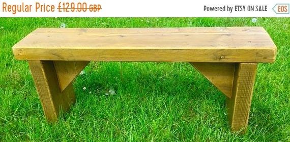 HUGE Sale NEW! ALL Free Delivery! Golden Oak 5ft Hand Made Reclaimed Old Pine Beam Solid Wood Dining Bench