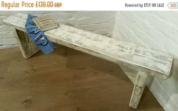 Bonfire Sale / FREE DELIVERY! 4ft Chunky Hand Made Solid Wood Pine White Wash Dining Chair Bench  *Bespoke - Built To Last*
