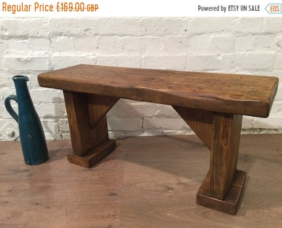 BIG Sale X-Wide Wide-Foot Solid Rustic Vintage Reclaimed Pine Plank Dining Table BENCH - Village Orchard Furniture