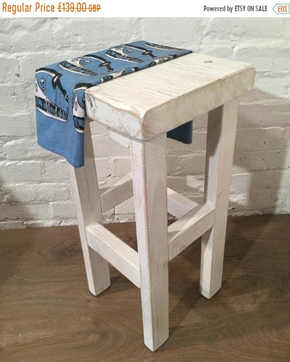 Summer Sale Hand Painted Whitewash Hand Made Reclaimed Solid Wood Kitchen Island Bar Stool - Hand Made by Village Orchard Furniture