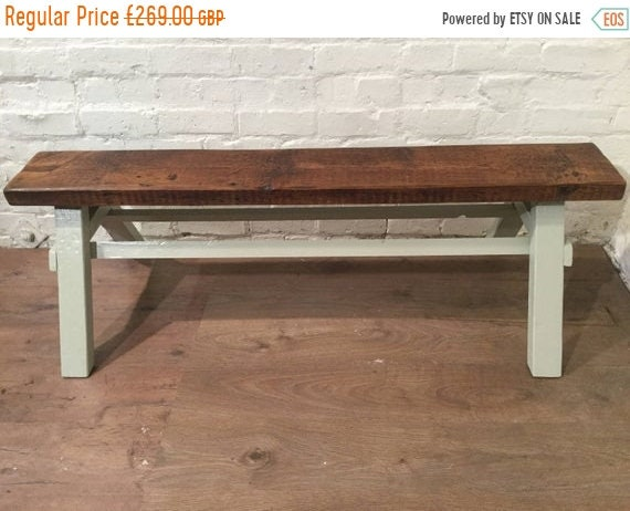 Bonfire Sale / Free Delivery - Our Architects Bench - HandMade in Solid Pine Painted in F&B Reclaimed Wood Beam - Village Orchard Furniture