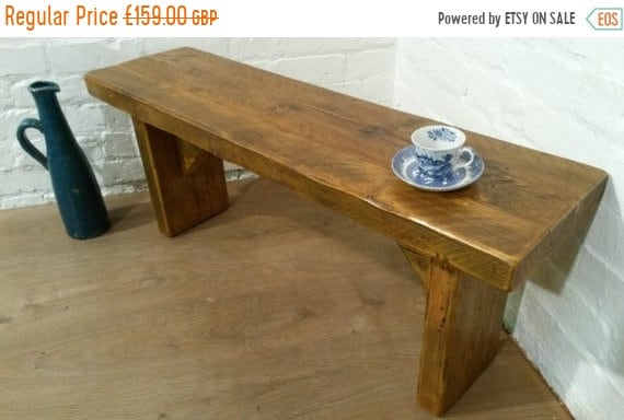 August sale FREE DELIVERY! X-Wide 4ft Hand Made Reclaimed Old Pine Beam Solid Wood Dining Bench