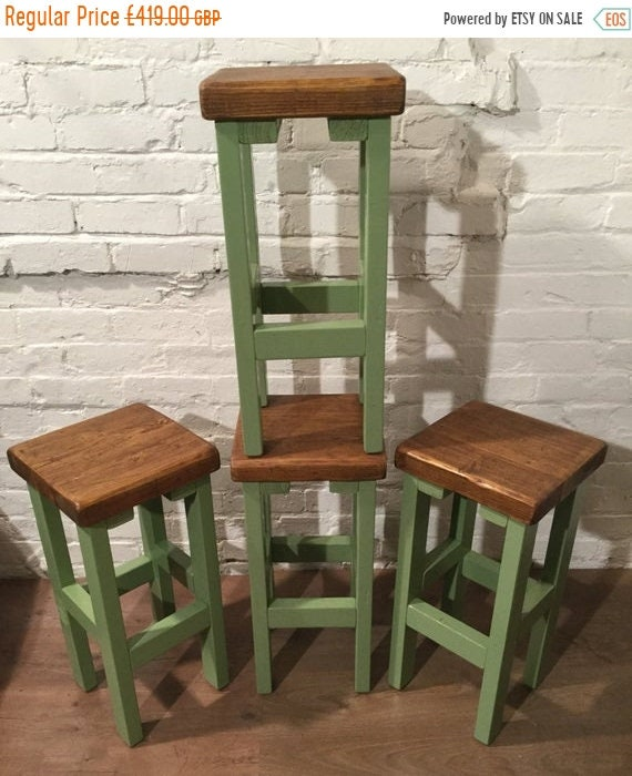 Summer Sale SET of 4 Hand Painted F&B HandMade Reclaimed Solid Wood Pine Kitchen Island Bar Stool - Village Orchard Furniture