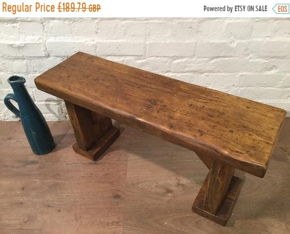 HUGE Sale 5ft X-Wide Wide-Foot Solid Rustic Vintage Reclaimed Pine Plank Dining Table BENCH - Village Orchard Furniture