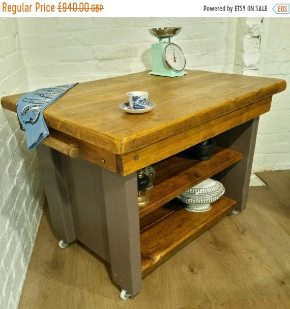 Spring-Sale Farmhouse F&B Painted British Solid Reclaimed Pine Butchers Block Table Kitchen Island - Village Orchard Furniture