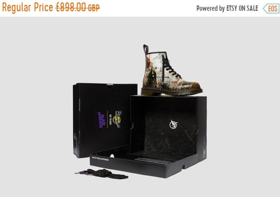 Spring Sale Ultra Rare - Brand New Dr Martens 50th Black Sabbath 1460 Ankle Boots UK SIZE 12 Mens