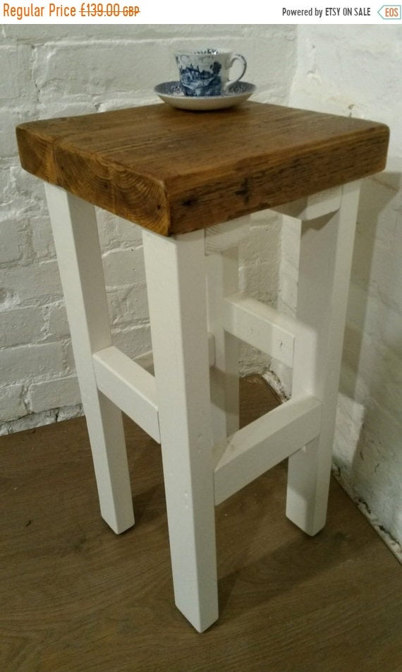 NewYear Sale FREE Delivery! White Hand Painted F&B Made Reclaimed Solid Wood Kitchen Island Bar Stool