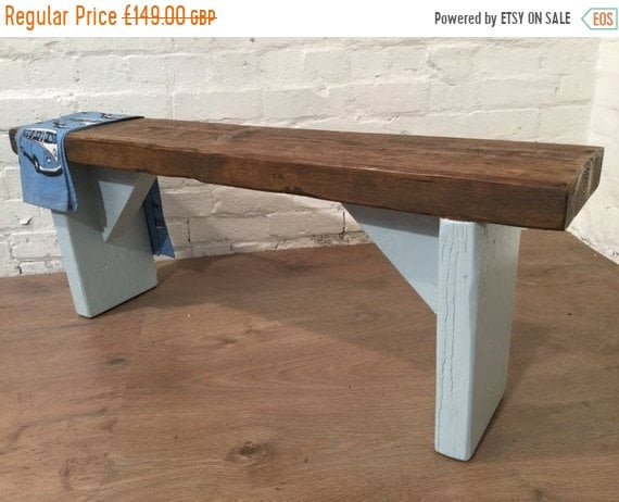 Bonfire Sale / Free Delivery! UK Hand Painted Laura Ashley Duck Egg Blue 4ft Reclaimed Solid Pine Dining Bench - Village Orchard Furniture