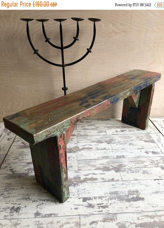 NewYear Sale 1800's Antique Indian Colonial Solid Wood Vintage Rosewood Bench - Only This 1 !