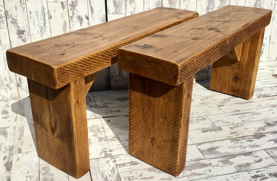 2x OLD ENGLISH Chunky (1x PAIR) 100cm Hand Made Reclaimed Pine Beam Solid Wood Dining Bench