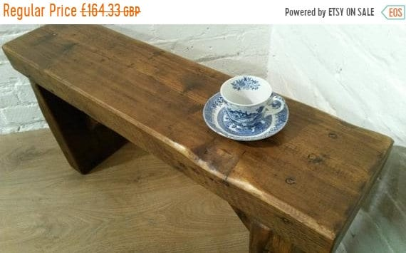 Summer Sale Free Delivery! 3ft CHURCH Beam Solid Rustic Wood Reclaimed Pine Dining Table Chair Vintage Bench - Village Orchard Furniture