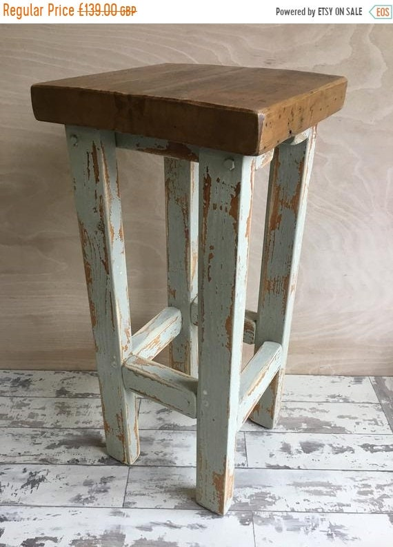 Spring-Sale FREE Delivery! Rustic Hand Painted F&B Made Reclaimed Solid Wood Kitchen Island Bar Stool
