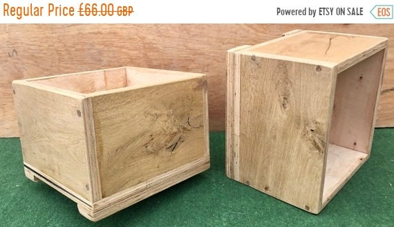 Spring Sale NEW! Square British HandMade Rustic Solid Wood Oak & Ply Garden Flower Trough Planters