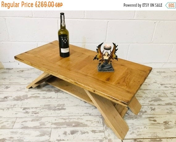 HUGE Sale Chunky Artisan Hand Made Reclaimed Solid English Oak Contemporary Coffee Table