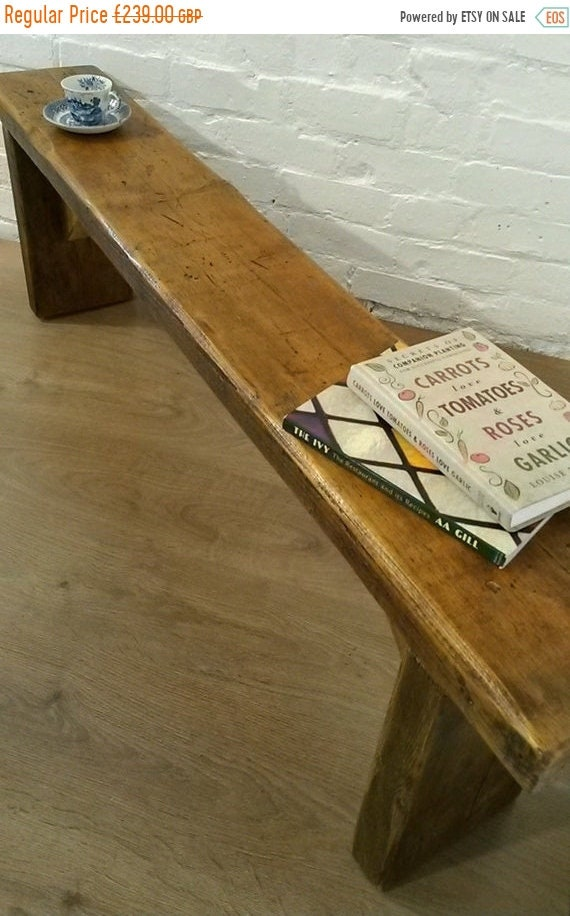 August sale Free Delivery 7ft Hand Made Reclaimed Old Pine Beam Solid Wood Dining Bench