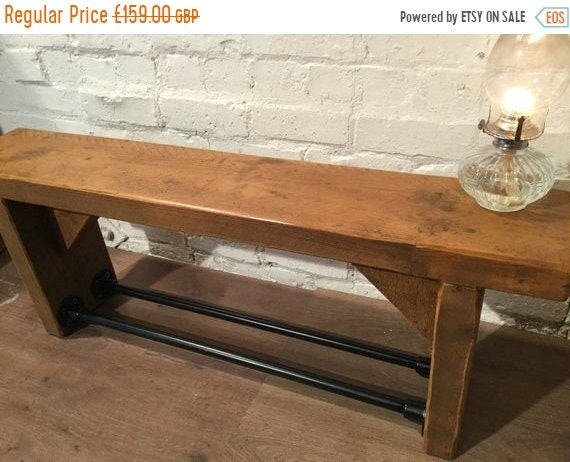 HUGE Sale FREE Delivery! Industrial Black Scaffold Steel Pipe Rustic Reclaimed Pine Table Shoe Rack Shelf BENCH - Village Orchard Furniture