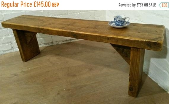 VALENTINE Sale FREE DELIVERY! Extra-Wide 4ft Hand Made Reclaimed Old Pine Beam Solid Wood Dining Bench