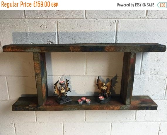 HUGE Sale 1800's Indian Colonial Reclaimed Timber Vintage Floating Wall Shelf Unit - Only 1!