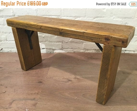 Xmas SALE Free Delivery Now - 4ft Industrial Hand Forged Wrought Iron Solid Reclaimed Pine Dining Table BENCH - Village Orchard Furniture