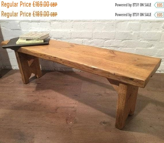 XMAS Sale X-Wide 4ft Hand Made Reclaimed Old Pine Beam Solid Wood Dining Bench with Carved Shaped Leg Detail in Light Oak Finish - Made