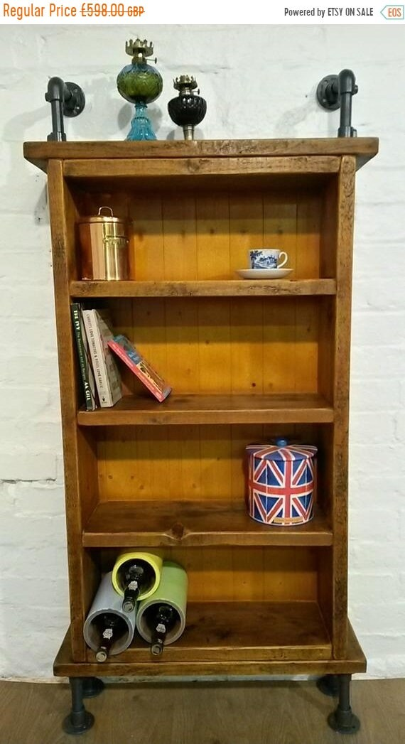 August sale Tall Reclaimed Solid Pine Plank Steel Vintage Scaffold Pipe Industrial Cabinet Bookcase *Bespoke - Built To Last*