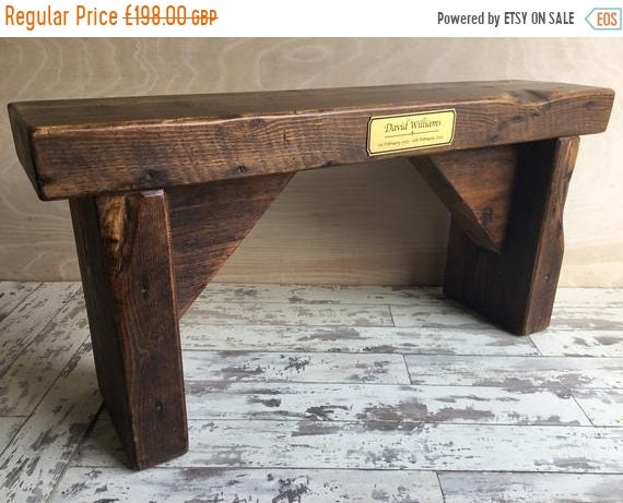 Spring-Sale Memorial Tribute Hand Made Reclaimed Church Solid Pine Bench with  In Memory Engraved Carving Plaque