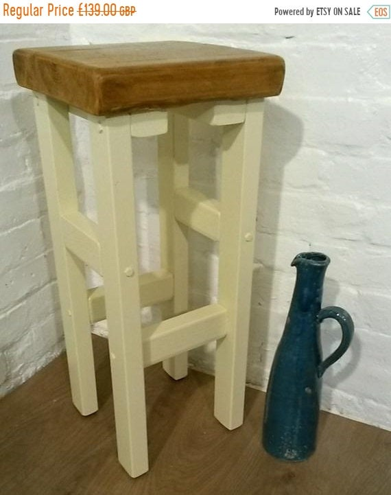 Halloween Sale FREE DELIVERY! Hand Painted F&B Made Reclaimed Solid Wood Kitchen Island Bar Stool