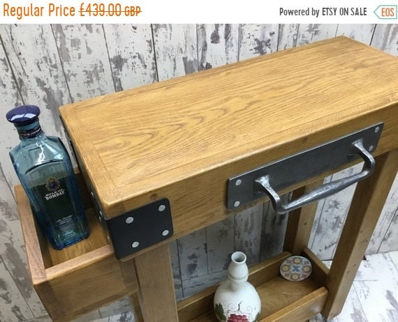 Autumn Sale Solid OAK Rustic Butchers Block Hand-Made Country Chunky Compact Kitchen Island Trolley