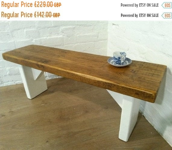 NewYear Sale Free Delivery! Extra-Wide F&B Painted 5ft Hand Made Reclaimed Old Pine Beam Solid Wood Dining Bench - Village Orchard Furniture