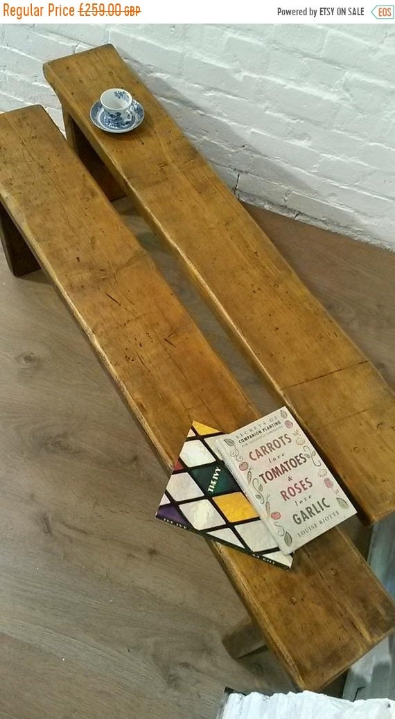 XMAS Sale PAIR 5ft CHUNKY Solid Rustic Vintage Reclaimed Pine Plank Dining Table Benches - Village Orchard Furniture