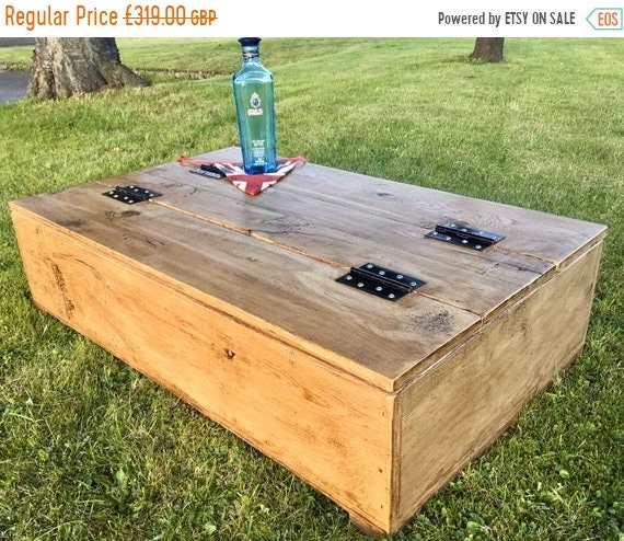 Spring Sale Double-Lid Industrial Hand Made Reclaimed OAK Box Chest Trunk Coffee Table
