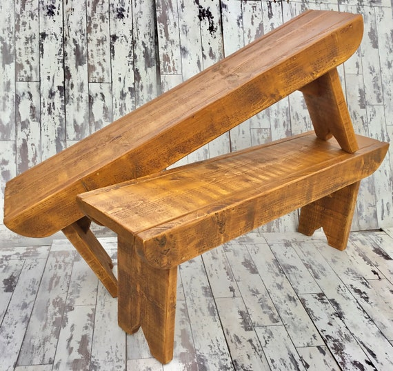 Autumn Sale NEW! Golden Oak Old School Antique 3ft Rustic Solid Reclaimed Pine Dining Plank Table Chair Bench - Village Orchard Furniture