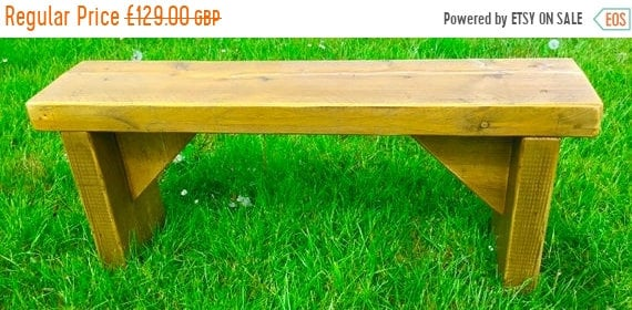 Xmas SALE NEW! ALL Free Delivery! Golden Oak 5ft Hand Made Reclaimed Old Pine Beam Solid Wood Dining Bench