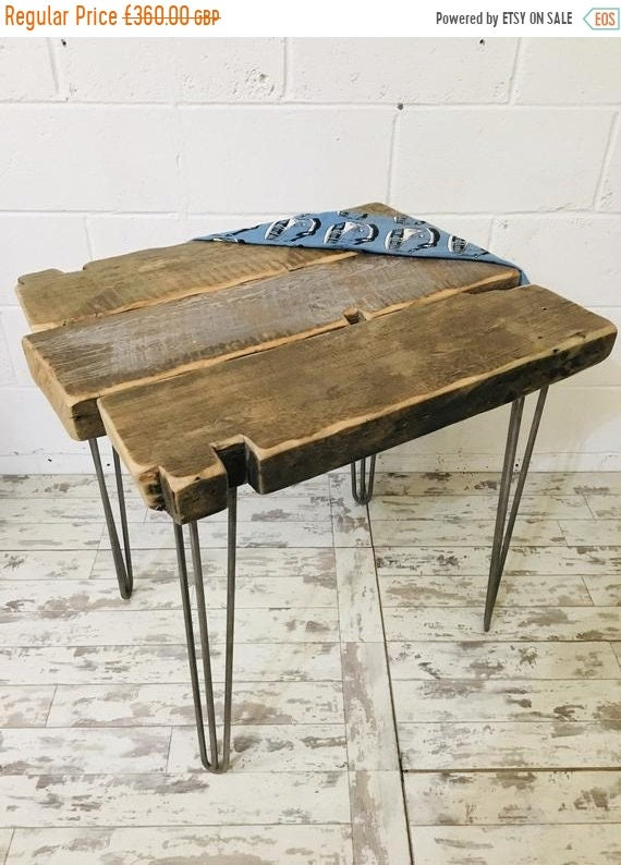 Spring-Sale OOAK Artisan Hand Made 200 Year Old Solid Pine Beam Industrial Hairpin Leg Table