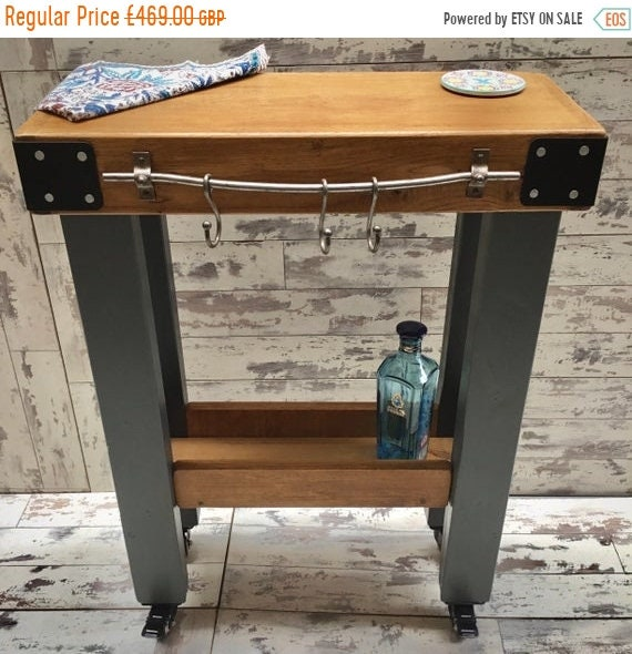 August SALE Painted F&B Solid Oak Butchers Block Hand Made Country Chunky Compact Kitchen Island Trolley