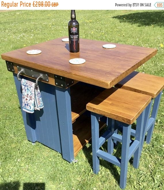 Summer Sale Solid OAK Hand Made Country Farrow & Ball Painted Kitchen Table Islands Bar Stools
