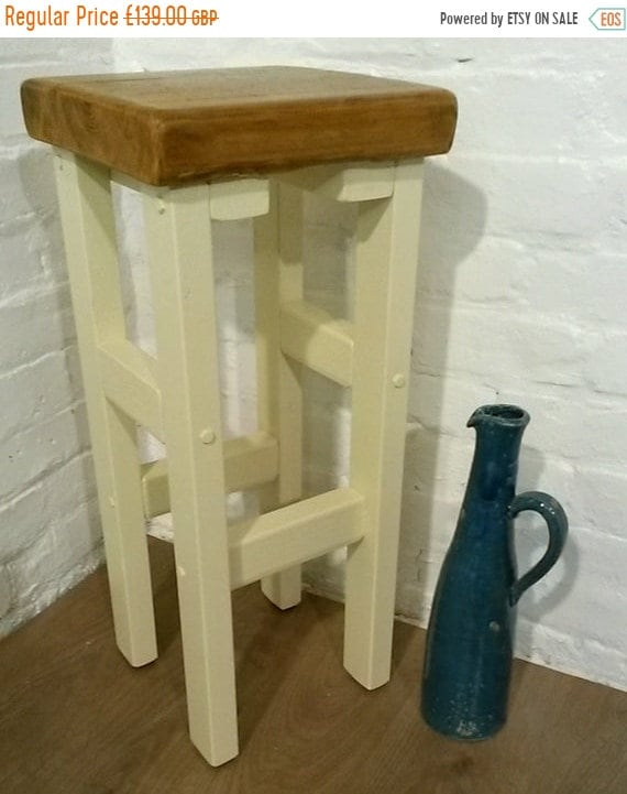 NewYear Sale FREE DELIVERY! Hand Painted F&B Made Reclaimed Solid Wood Kitchen Island Bar Stool