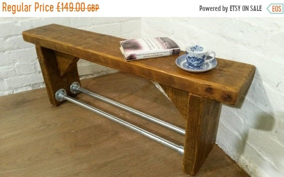 VALENTINE Sale FREE Delivery! Industrial Scaffold Steel Pipe Rustic Reclaimed Pine Table Shoe Rack Shelf BENCH - Village Orchard Furniture