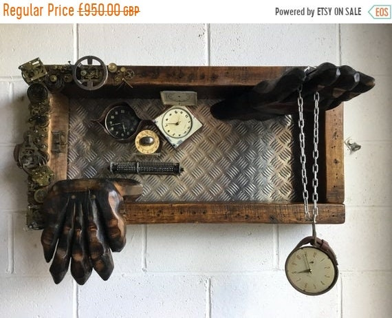 "Xmas Sale OOAK Artisan Art Piece - ""TIME"" - 1800's Reclaimed Beams, 1960's Brass Clocks, Copper & Leather - Darlington Old Civic Theatre"
