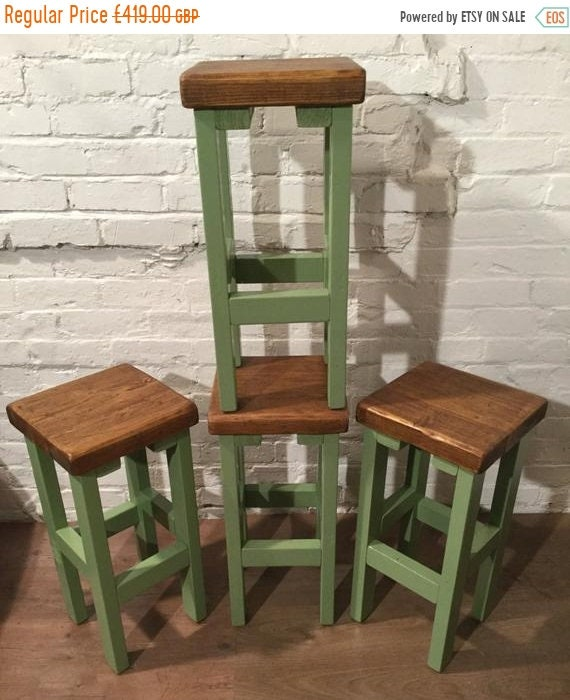 HUGE Sale SET of 4 Hand Painted F&B HandMade Reclaimed Solid Wood Pine Kitchen Island Bar Stool - Village Orchard Furniture