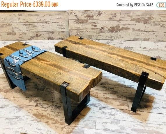 June Sale Bespoke Artisan Hand Made Reclaimed 200 Year Old Vintage Industrial Solid Pine Beam Metal Leg Coffee Table