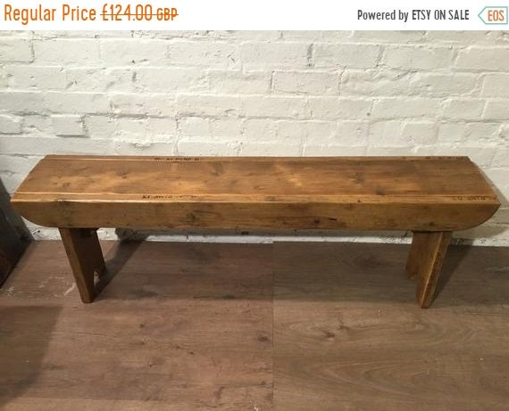 NewYear Sale Old School Antique 3ft Rustic Solid Reclaimed Pine Dining Plank Table Chair Bench - Village Orchard Furniture