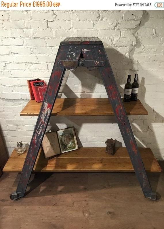 BIG Sale RAF Original *Only 1 !* c.1950's Cornwall Metal & Reclaimed Pine Plank Ladder Rack Bookcase Display Cabinet Shelf
