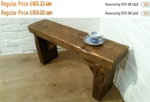 Xmas SALE Free Delivery! 3ft CHURCH BEAM Solid Rustic Wood Reclaimed Pine Dining Table Vintage Bench - Village Orchard Furniture