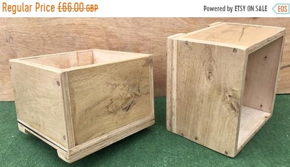 Summer Sale NEW! Square British HandMade Rustic Solid Wood Oak & Ply Garden Flower Trough Planters