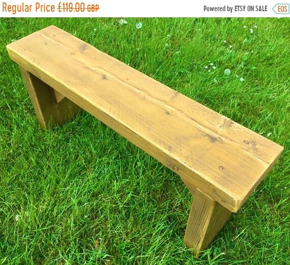 Xmas SALE NEW! Golden Oak 3ft Hand Made Reclaimed Old Pine Beam Solid Wood Dining Bench
