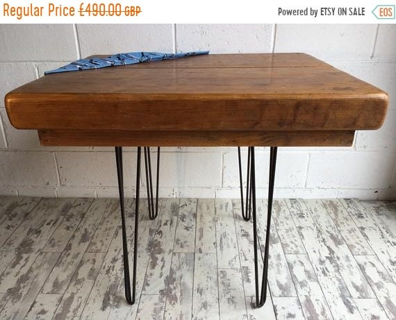 Halloween Sale Huge Reclaimed Church Pine Beam Table Kitchen Island on Hairpin Legs - Only This 1 !