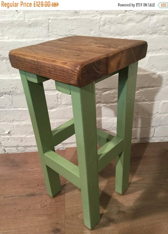Bonfire Sale / Hand Painted Farrow & Ball Country Hand Made Reclaimed Solid Pine Wood Kitchen Island Bar Stool - Village Orchard Furniture