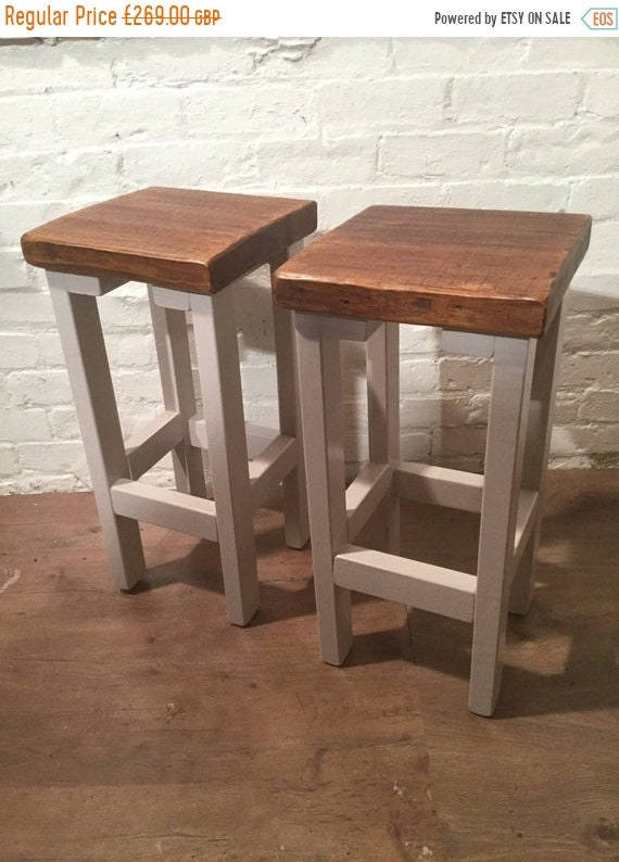 Xmas Sale FREE Delivery! A Pair (x2) Hand Painted F&B Rustic Reclaimed Solid Wood Kitchen Island Bar Stool - Village Orchard Furniture