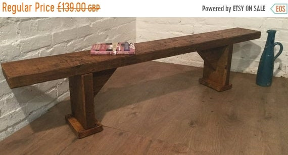 Xmas Sale Free Delivery! 5ft Wide-Foot Solid Rustic Vintage Reclaimed Pine Plank Dining Table BENCH - Village Orchard Furniture